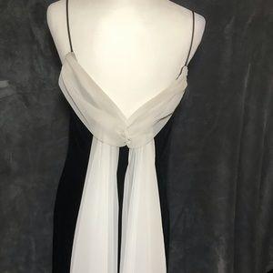 Black Velvet with White Chiffon Gown Size10